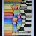 Силуети 1 - живопис с акварел