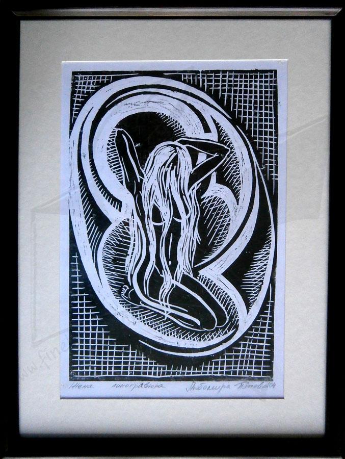 Жена - линогравюра в черно